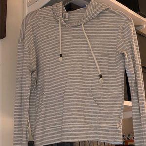 Striped grey/white forever 21 hoodie sweatshirt